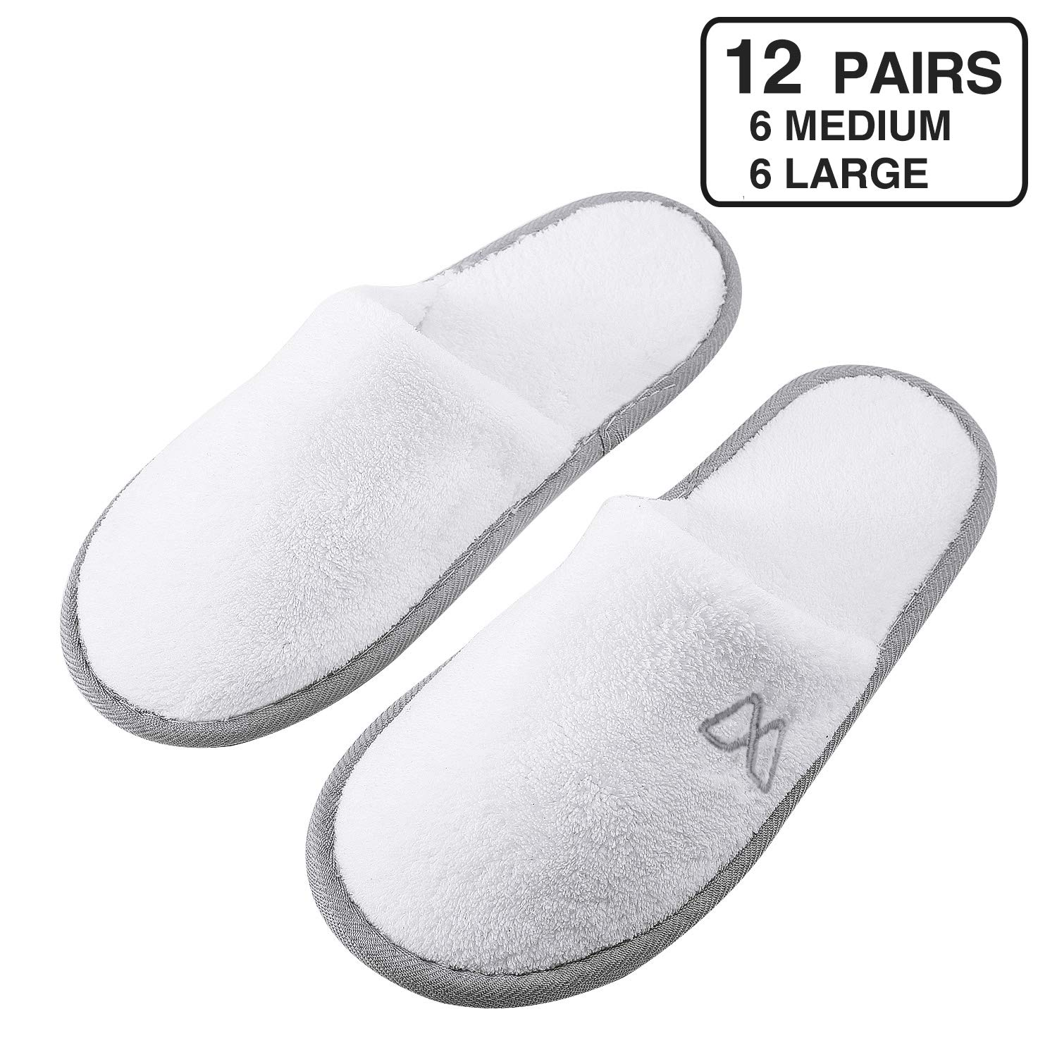 Foorame Spa Slippers, Closed Toe (12 Pairs- 6L, 6M) Disposable Indoor Hotel Slippers for Men and Women, Fluffy Coral Fleece, Deluxe Padded Sole for Extra Comfort- Perfect for Guests, Travel Wedding