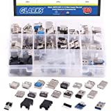 Glarks 180Pcs Micro Sockets USB 2.0 3.0 Type A Male Female Plug Connector Jack Solder USB Repair Replacement Adapter Assortme
