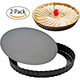 Attmu 8 Inches Non-Stick Removable Loose Bottom Quiche Tart Pan (2 Pack), Tart Pie Pan, Round Tart Quiche Pan with Removable Base