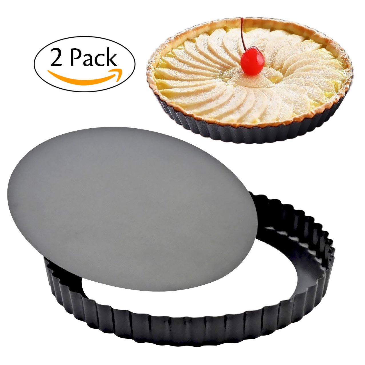 8 Inch Non-Stick Removable Loose Bottom Quiche Tart Pan (2 Pack), Tart Pie Pan with Removable Base