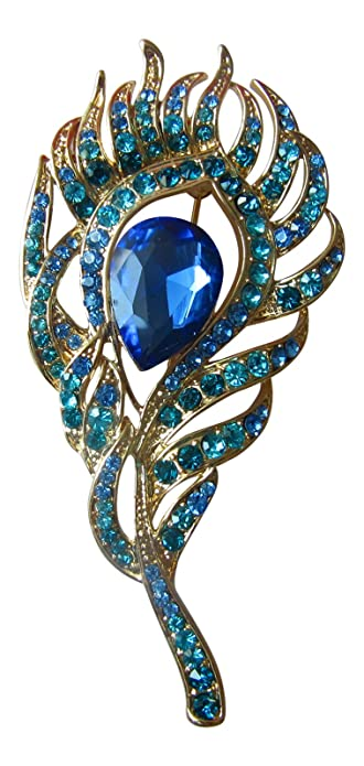 32e7211948f Brooch Boutique Elegant Gold and Blue Peacock Feather Brooch: Amazon ...