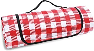 JEAOUIA Red and White Plaid Picnic Blankets Lightweight and Waterproof, Portable Beach Mat Water Resistance with Carry Strap, Foldable and Weatherproof Picnic Mat for Camping, Yard and Home