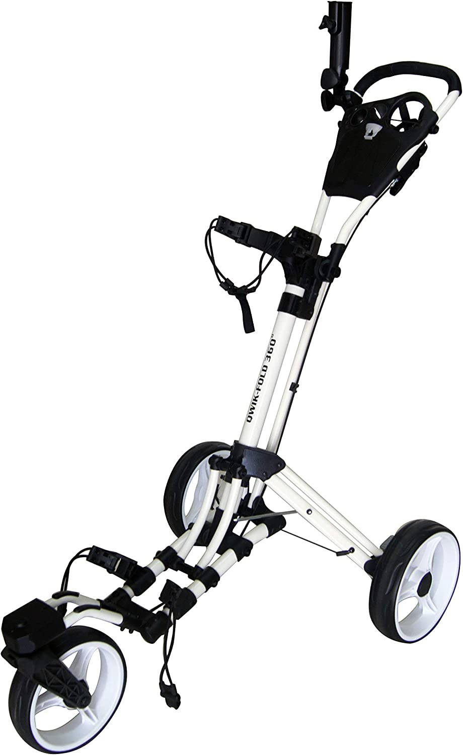 Qwik-Fold 360 Swivel 3 Wheel Push Pull Golf Cart with 360 Rotating Front Wheel, One Second to Open and Close Folding Cart, Collapsible Cart