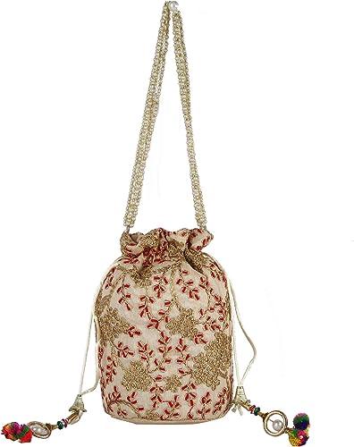 Hydes Indian Jaipuri Brocade Potli Clutch Drawstring Intricate Thread /& Sequin