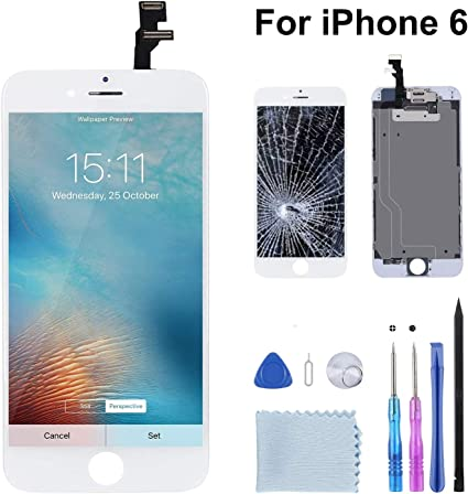 Beefix Display Compatible para iPhone 6 Blanco, reemplazo de ...