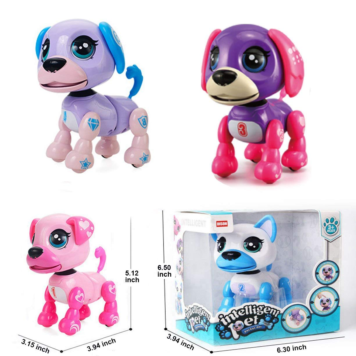 amdohai Interactive Puppy - Smart Pet, Electronic Robot Dog Toys for Age 3 4 5 6 7 8 Year Old Girls, Gifts Idea for Kids ● Voice Control&Intelligent Talking (Pink) by amdohai (Image #6)