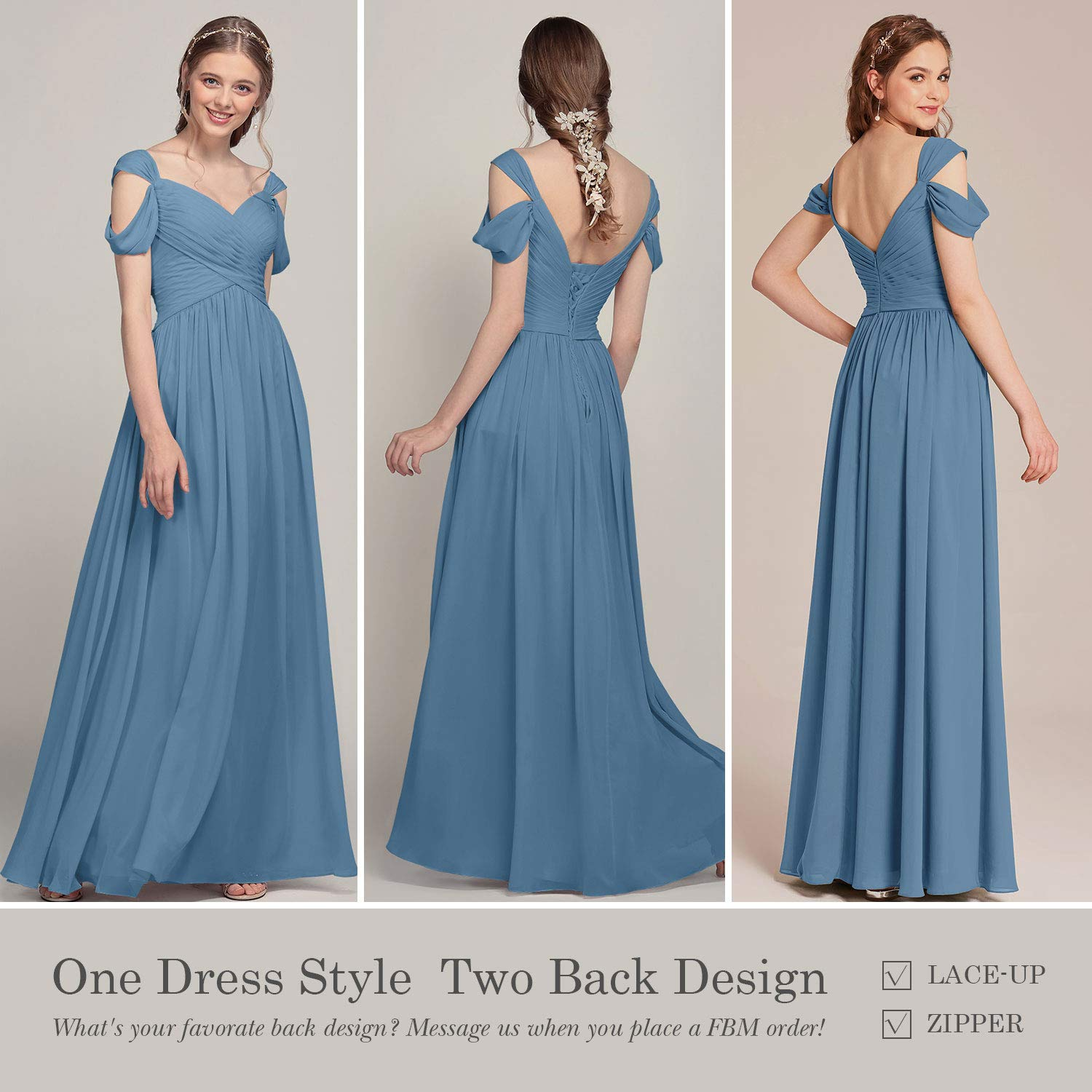 Alicepub Pleated Chiffon Maxi Plus Size Bridesmaid Dress Long Formal Event  Dress for Party, Dusty Blue, US20