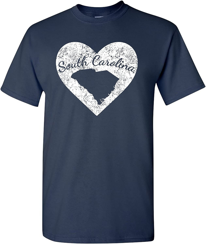 I Love State Heart T-Shirt Basic Cotton