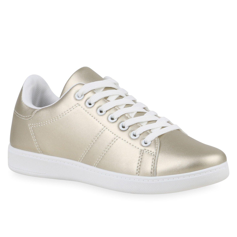 Stiefelparadies Damen Sneaker Low Basic Flandell Gold