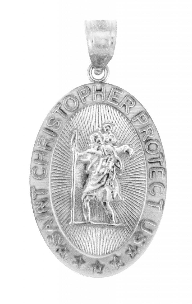 14k White Gold St Christopher Medal Catholic Charm Traveler Protection Pendant