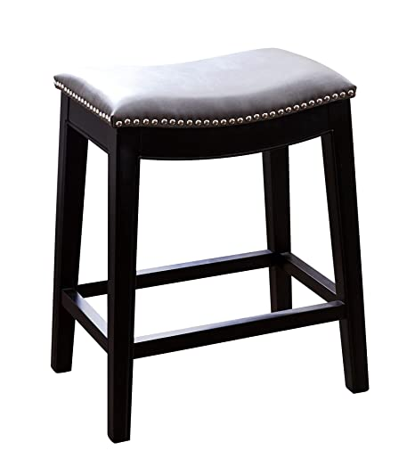 Excellent Abbyson Paula Leather Nailhead Trim Counter Stool Gray Uwap Interior Chair Design Uwaporg