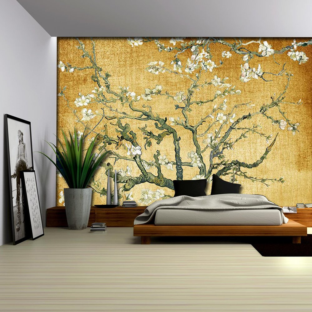 Yellow Textured Almond Blossom by Vincent Van Gogh Wall Mural - Wall ...
