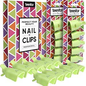 Teenitor Gel Removal Clips, 20 Pieces Reusable Toenail and Finger Nail Gel Polish Remover Set, Gel Nail Polish Remover Clips - Green