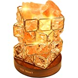 OXA Gorgeous Himalayan Salt Lamp,Natural Hymalain Pink Salt Rock in Crystal Basket(3.85pounds,6.0'') with Dimmer Switch,2xBulbs,UL-Listed Cord &Wood Base