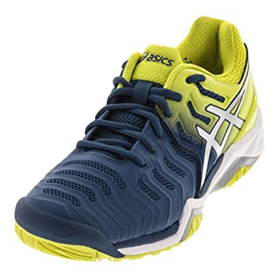 ASICS Men's Gel-Resolution 7 Ink Blue/Sulphur Spring/White 10 ...