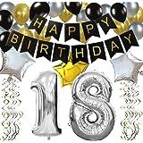 KUNGYO 18 Buon Compleanno Festa Decorazioni Kit – Nero Striscione di Happy Birthday, 100CM Grande Pallone 18 in Argento, Palloncini per Feste di 18 Anni