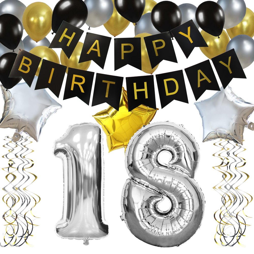 Amazon KUNGYO Classy 18TH Birthday Party Decorations Kit Black Happy Brithday BannerSilver 18 Mylar Foil Balloon Star Latex BalloonHanging Swirls