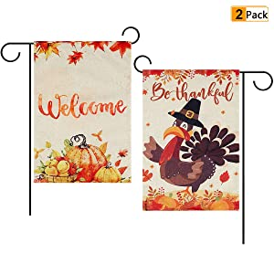 2 Pack Thanksgiving Garden Flag Autumn Welcome Garden Flag Turkey Pumpkin Garden Flag Double Sided Burlap Flag for Thanksgiving Home Outdoor Yard Decorations 12.5 x 18 Inch