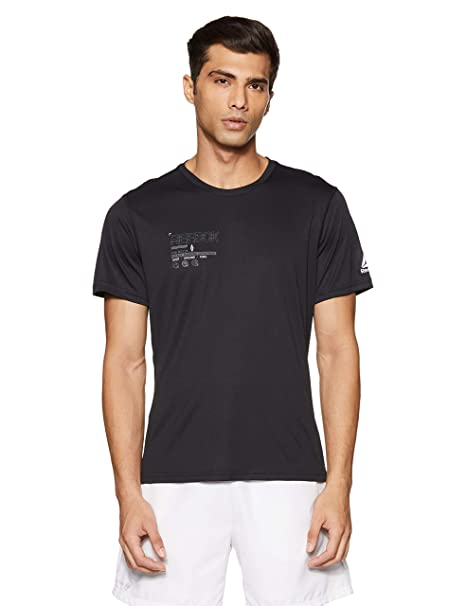 ab11e0e66bd1 Reebok Men s Solid Regular Fit T-Shirt  Amazon.in  Clothing   Accessories