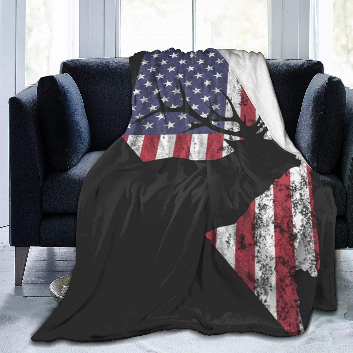Manta de Tiro de Terciopelo Nevada EE. UU.La Bandera de jardín de Alces Ultra Suave, Ligera, acogedora, cálida, Manta de Microfibra de Microfibra para Cama, sofá, Silla