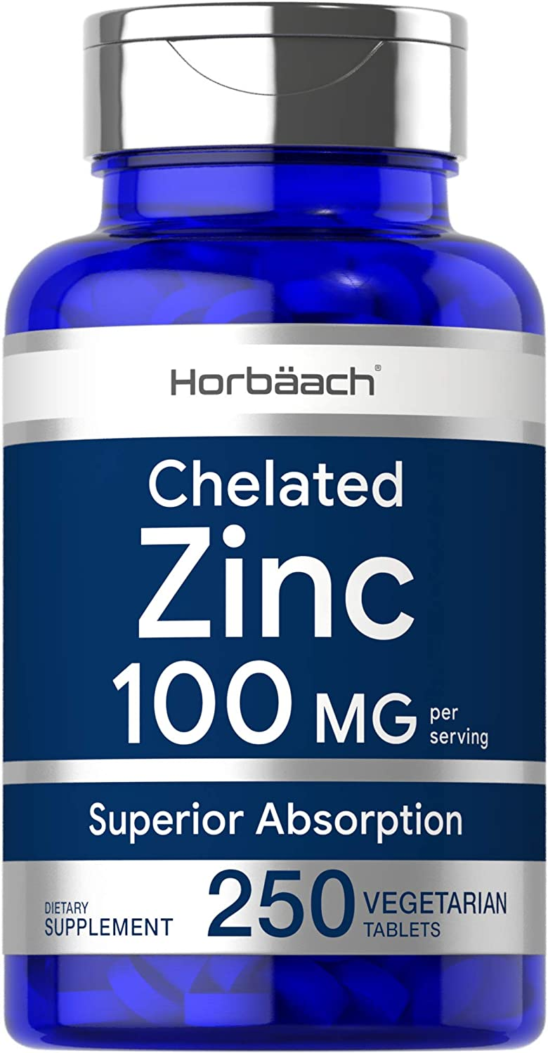 Chelated Zinc Supplement 100mg | 250 Tablets | High Potency & Superior Absorption | Vegetarian, Non-GMO, Gluten Free | by Horbaach: Health & Personal Care