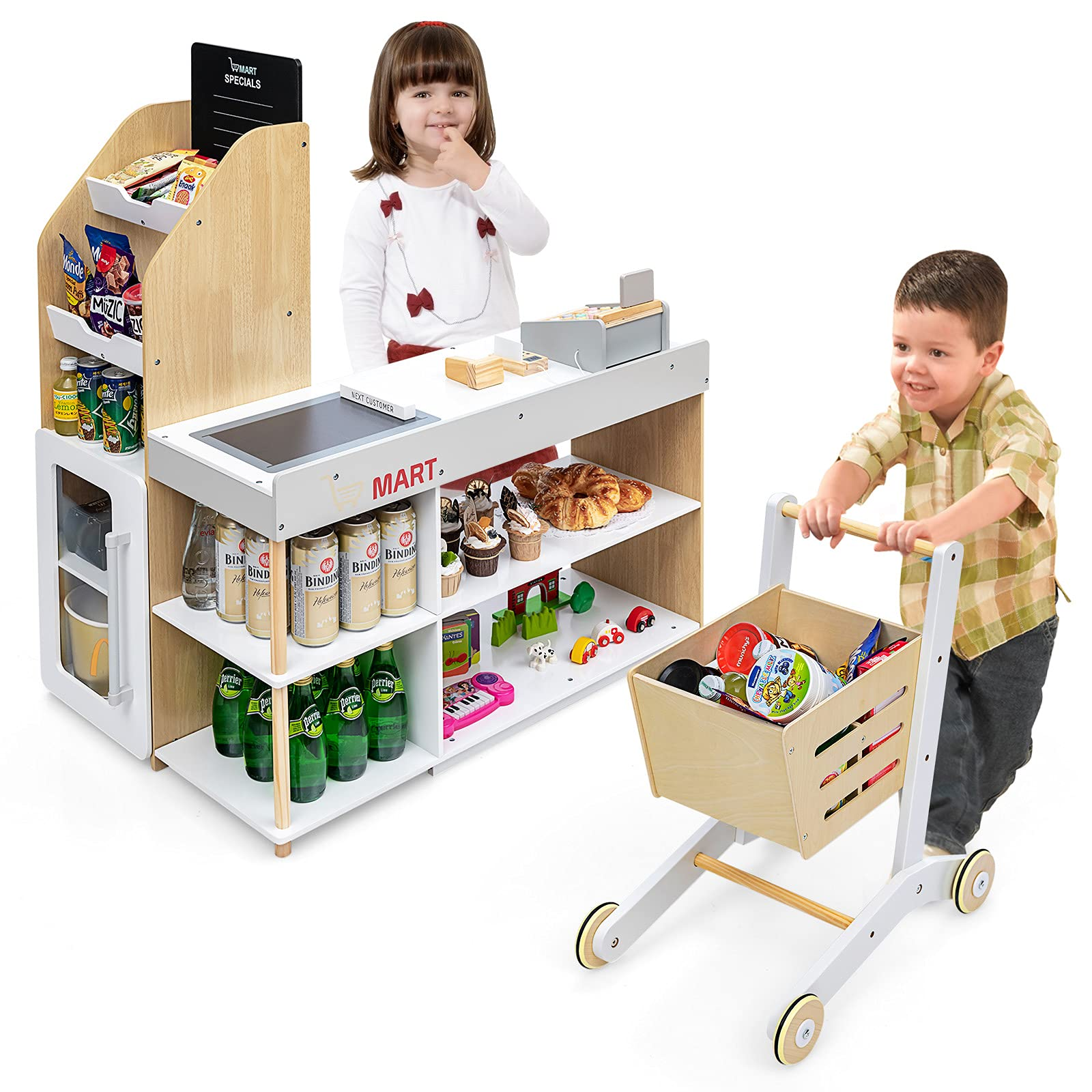 Costzon Pretend Grocery Store Playset, Supermarket Play Toy with Shopping Cart, Scanner, Register, Credit Card, 5 Wooden Coins, Cashier Pretend Play for Kids Toddlers (Play Food Set are not Included)