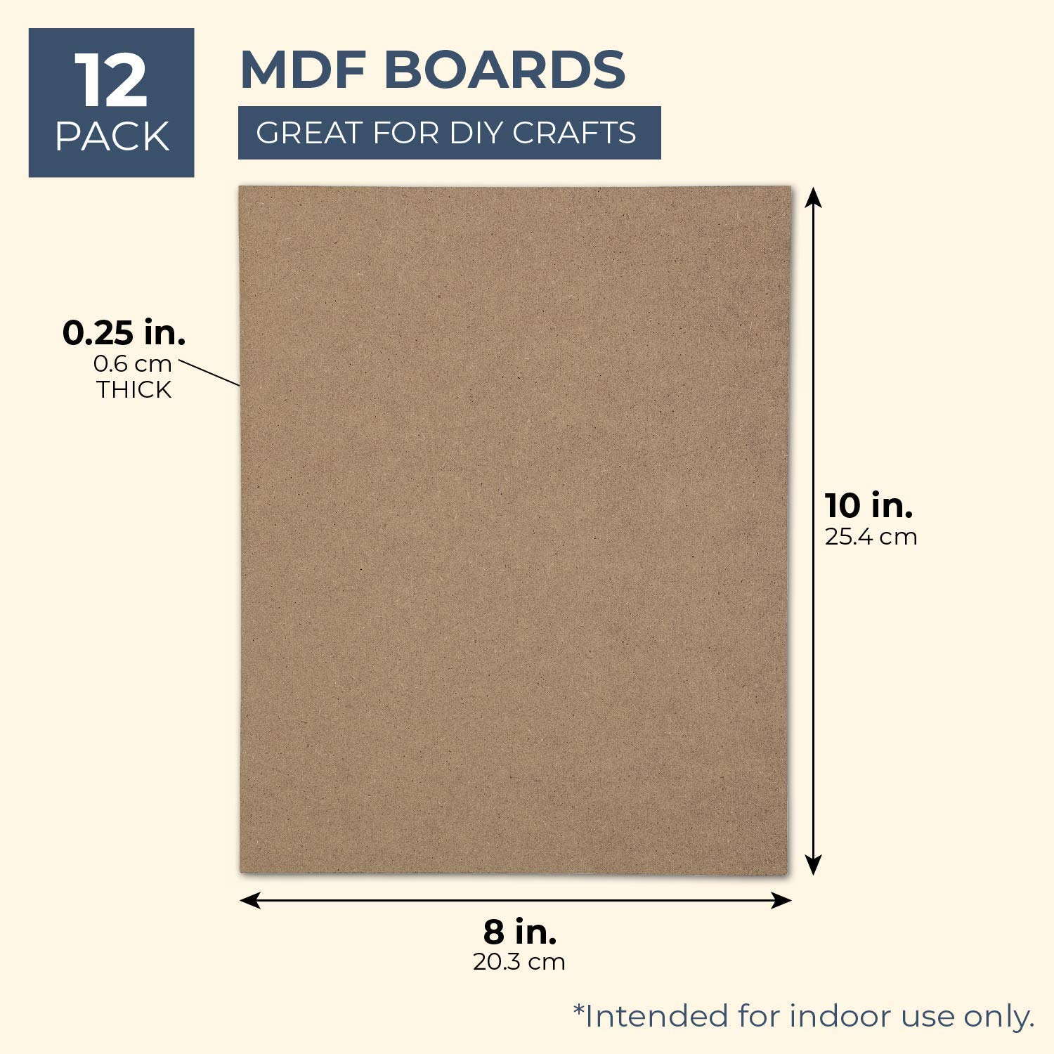 12 Pack 8 x 10 Inches Bright Creations MDF Board