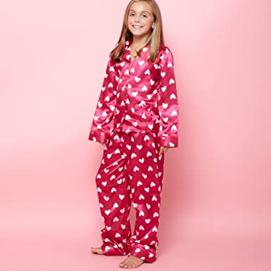 ba1837968c Bluezoo Girl s Pink Heart Satin Pyjamas  Amazon.co.uk  Clothing