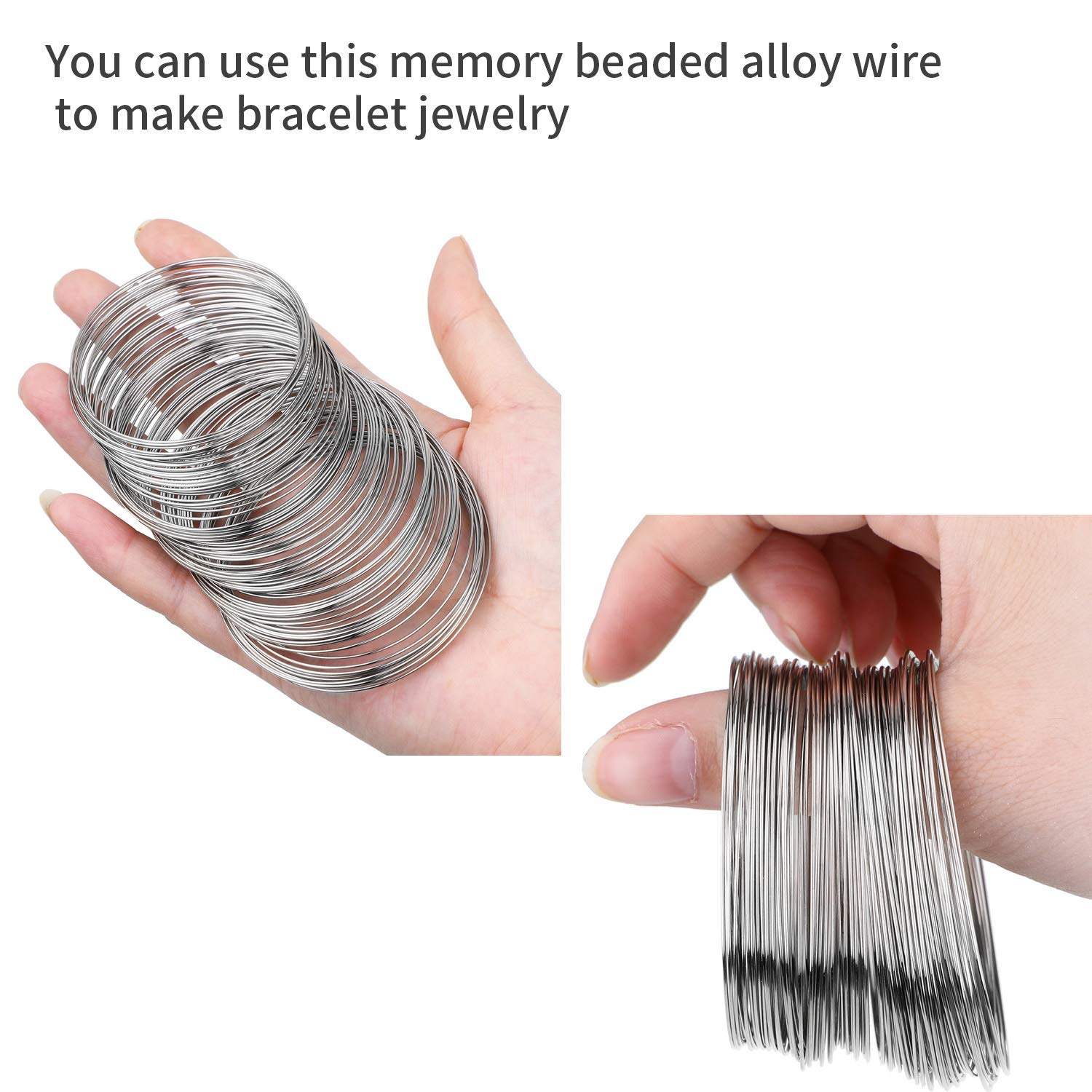About 400 Pieces Loop Jewelry Wire Beading Wire Bracelet Memory Wire Cuff Bangle for Wire Wrap Jewelry DIY Making Bronze