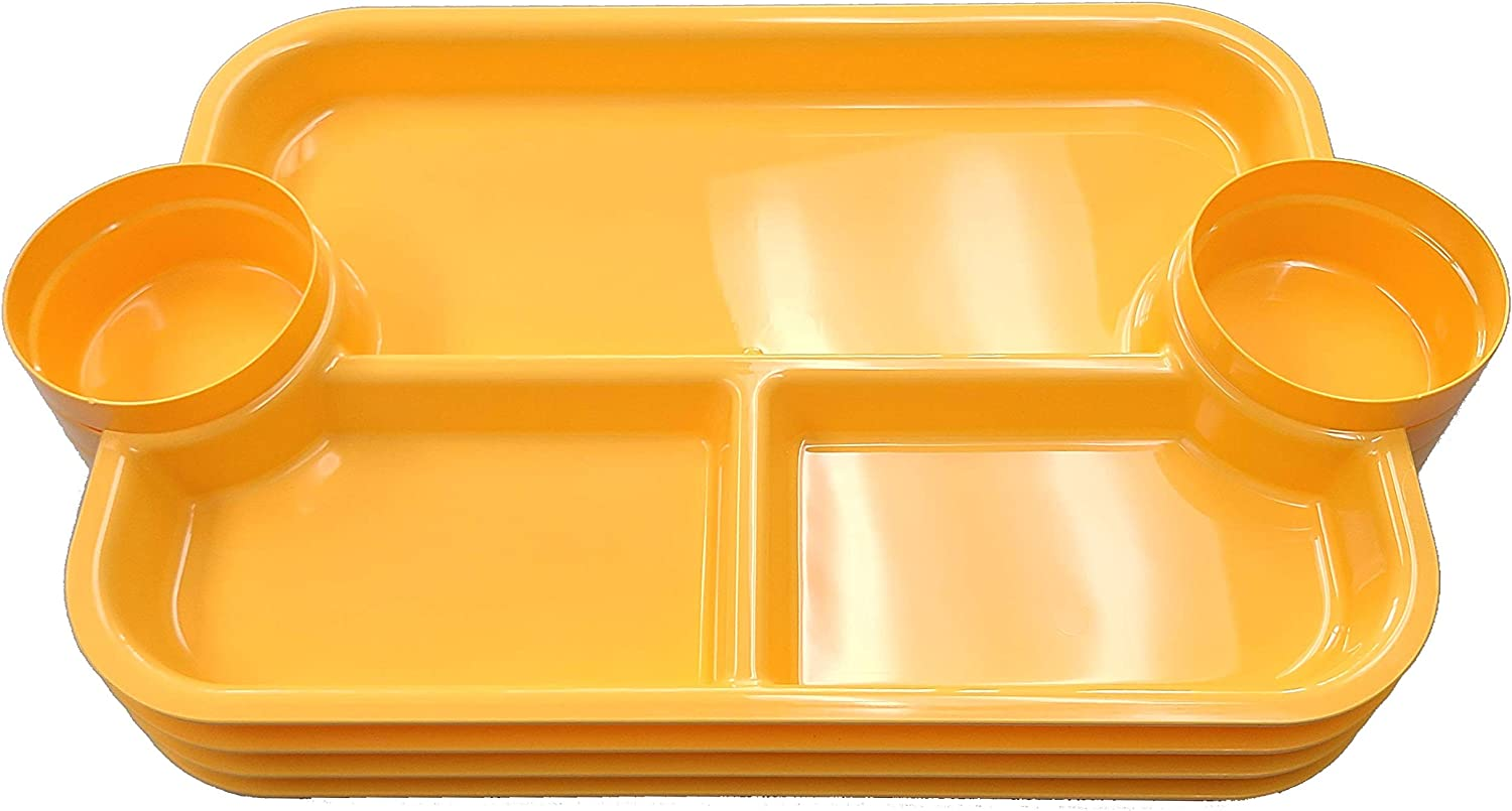 The Party Dipper - Kids and Adults Party Plate Serving Tray Innovative Multi-Use Versatile Convenient For a Party, Events, Catering, School, Home - Made In USA - YELLOW