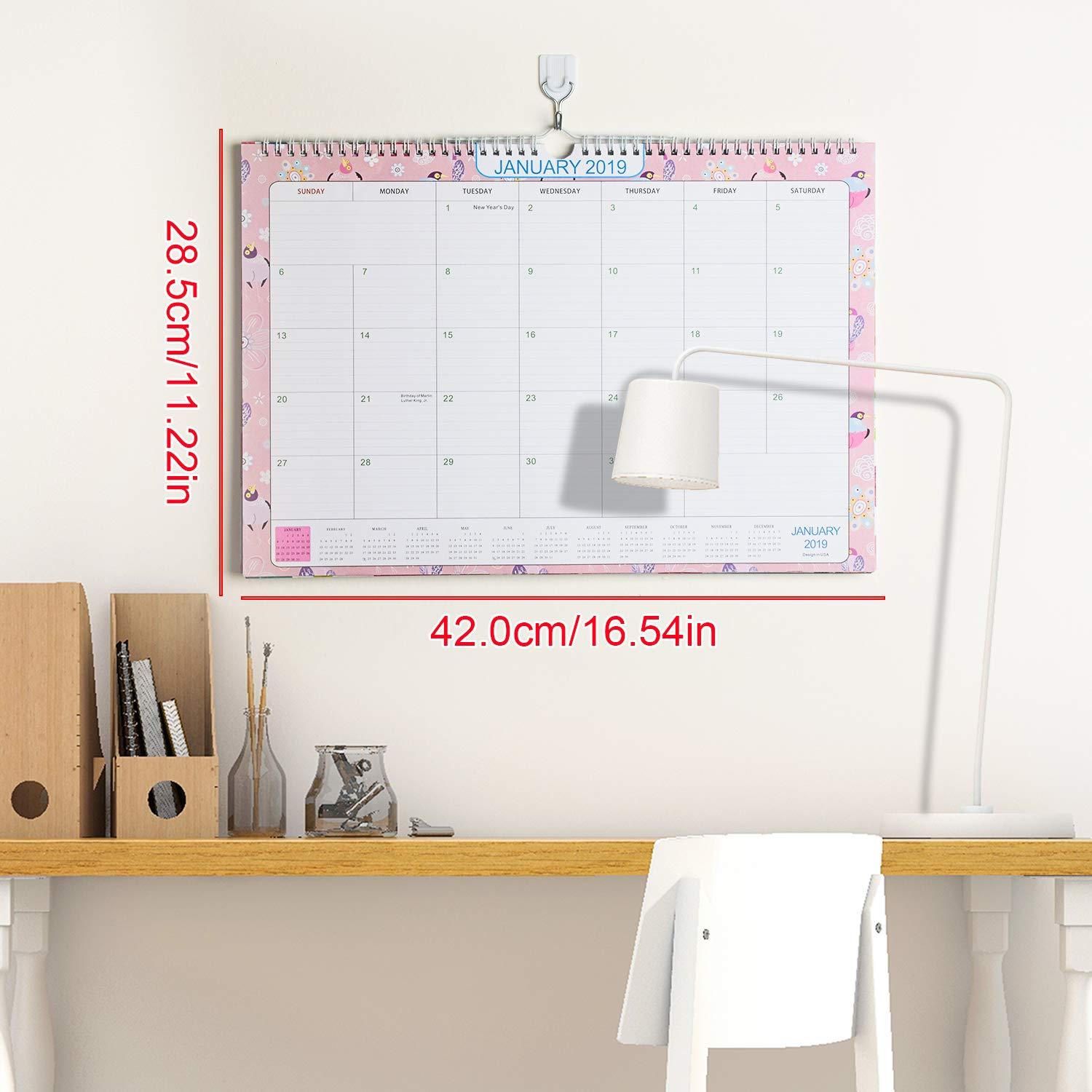 Desk Calendar 2018-2019 Monthly Yearly Wall Pad Calendar Daily Planners Ruled Blocks to-Do List Notepad October 2018 - December 2019 + 6 Sets of Stickers
