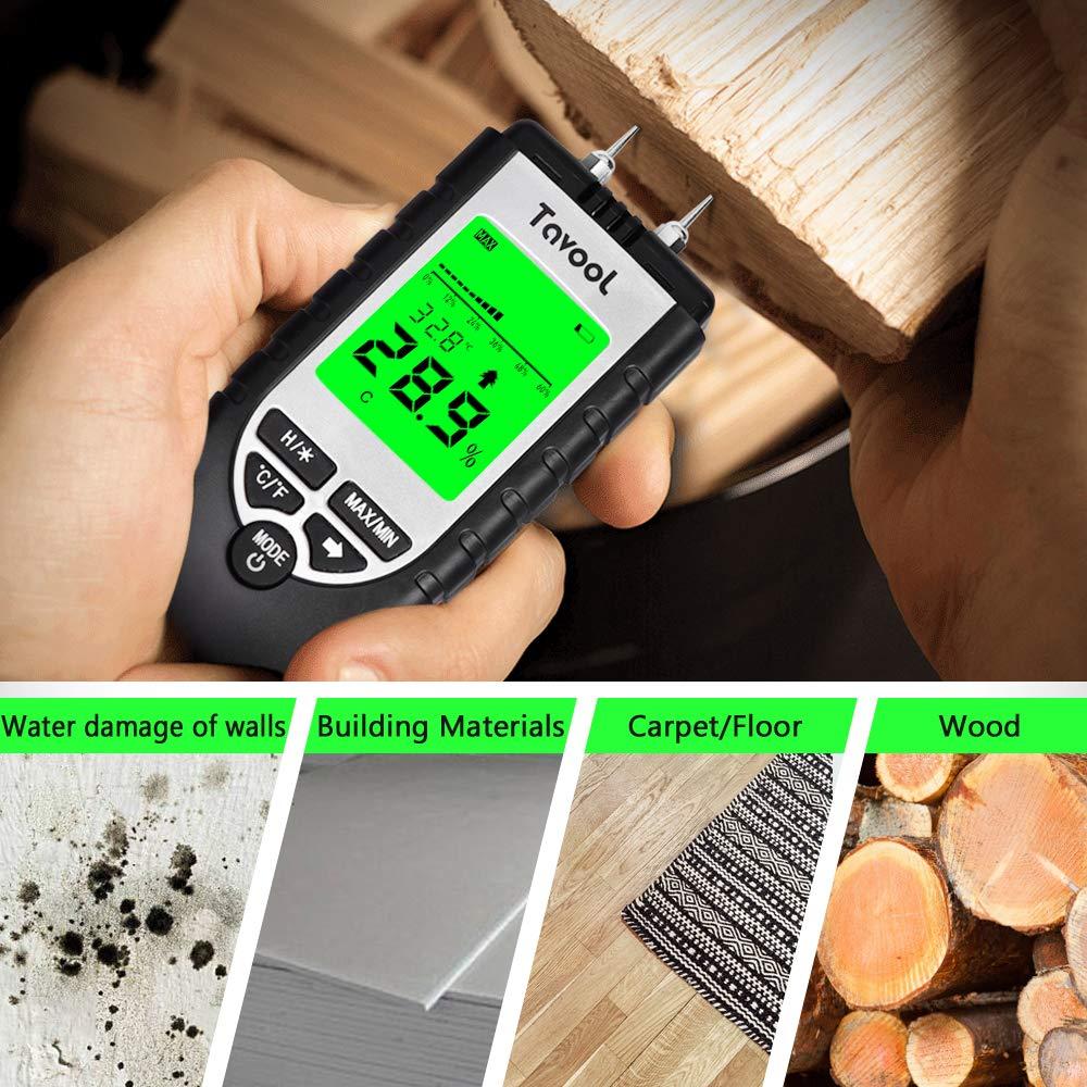 Pin-Type Water Leak Detector Damp Tester Dampness Meter for Wood Building Material Firewood Walls Paper Floor Wood Moisture Meter Digital Moisture Detector Moisture Tester Yellow