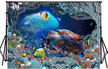 7/×5ft Backdrop Banner Fish Dolphin Photographic Backdrops Background Studio Props Backdrop Birthday Party 3D Background Wall Photo Booth Background Photography Background Backdrop Backdrop Back