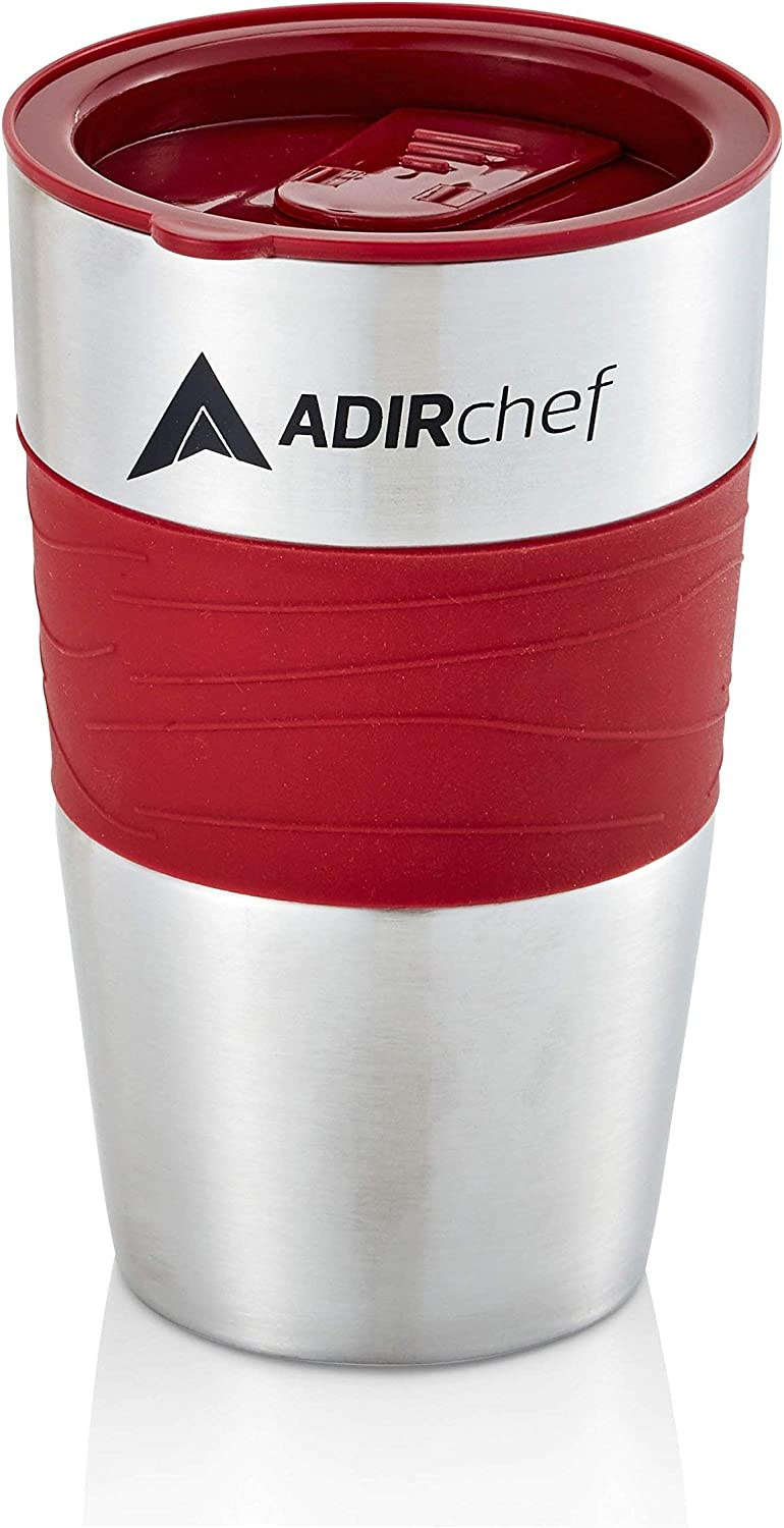 AdirChef Travel Mug 15 Oz - Insulated BPA Free Stainless Steel Vacuum Tumbler w/Spill Proof Slide Lid for Hot/Cold Drinks Great for Outdoor, Driving, Home or Office Use (Ruby Red)