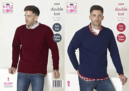 5aea1f538 King Cole 5259 Knitting Pattern Mens Easy Knit Raglan Sleeve Sweaters in  Big Value DK  Amazon.co.uk  Kitchen   Home