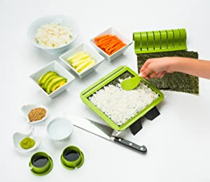 SushiQuik Super Easy Making Kit Complete With Roll Cutter, Rice Paddle, Pre-Measured Rice Frame and How To Videos