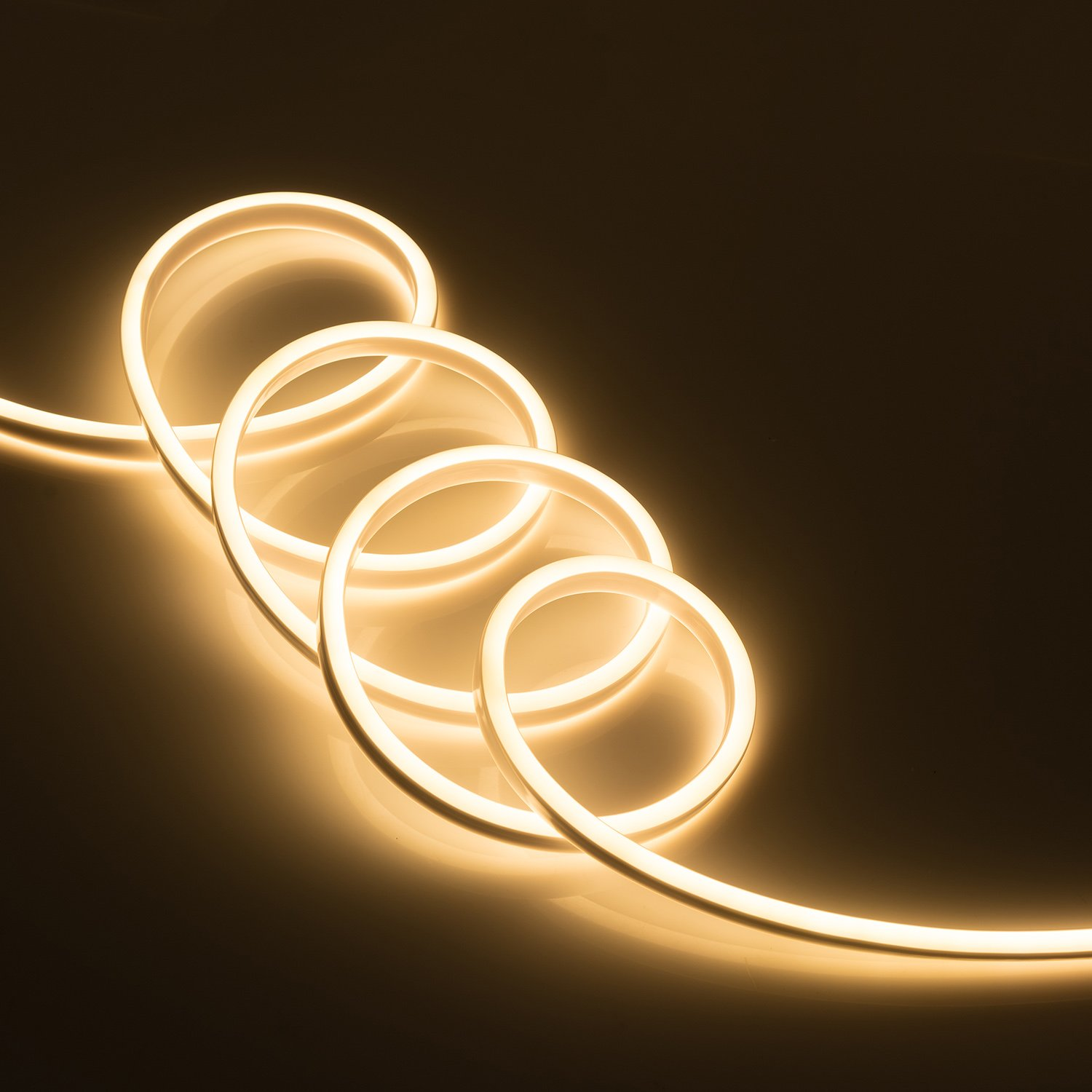 WYZworks Warm White Flexible Water Resistant Soft Double Side LED Neon Rope Light Strip Bar 50FT