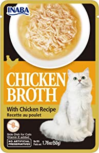 Chicken Broth with Chicken Recipe (Side Dish Wet Treat for Cats) 8 Singles Packs