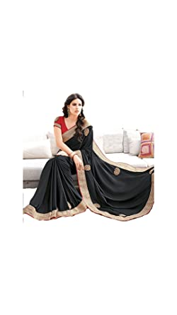 236130e32af1b Amazon.com  Partywear Designer Black Saree Plain Georgett Party Traditional  Sarees  Clothing