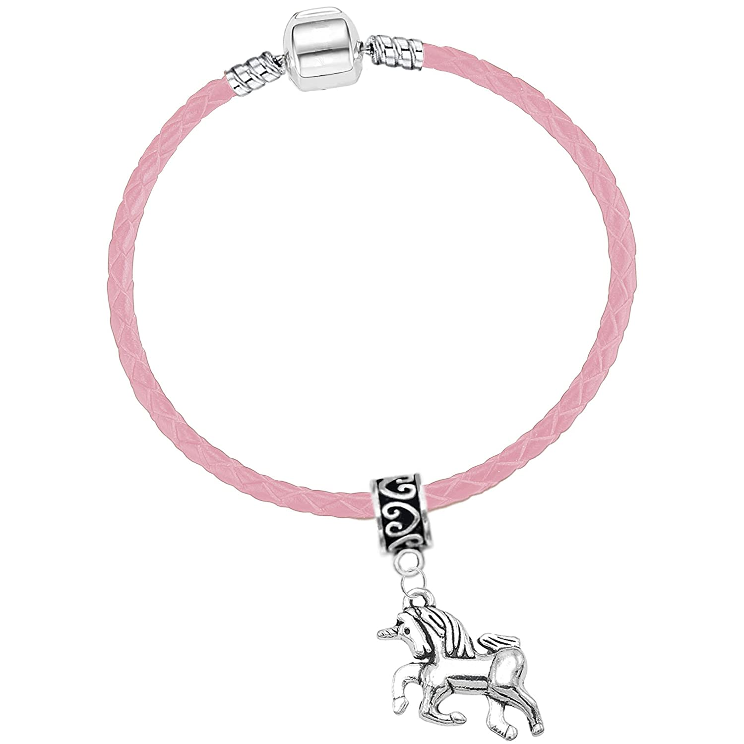 Girls Pink Leather Starter Charm Bracelet with Silver Unicorn and Gift Box Charm Buddy ® 15cm Pink PAND Ch-71 Starter