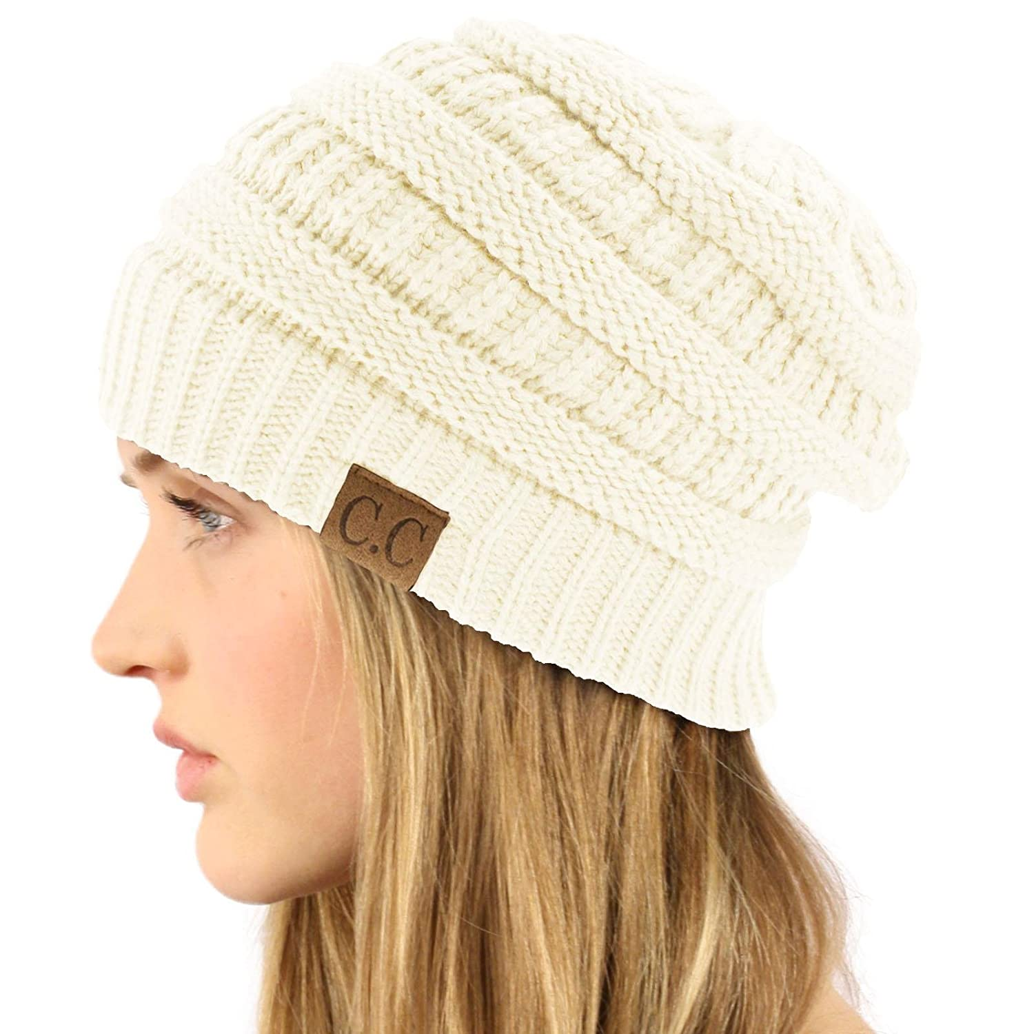 1b61ab2e2 Unisex Winter Chunky Soft Stretch Cable Knit Slouch Beanie Skully Hat Cap  Ivory,One Size