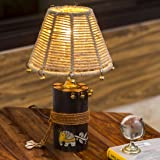 ExclusiveLane Wooden Madhubani Hand-Painted Living Room Decorative Bedroom Table Lamp (Brown)