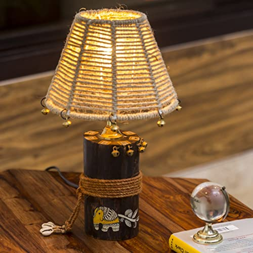 8. ExclusiveLane 'The Jute-Shade Log' Madhubani & Warli Handpainted Wooden Home Decorative Bedroom Living Room Bedside Table Lamps for Home Decoration (Brown, Without Bulb)