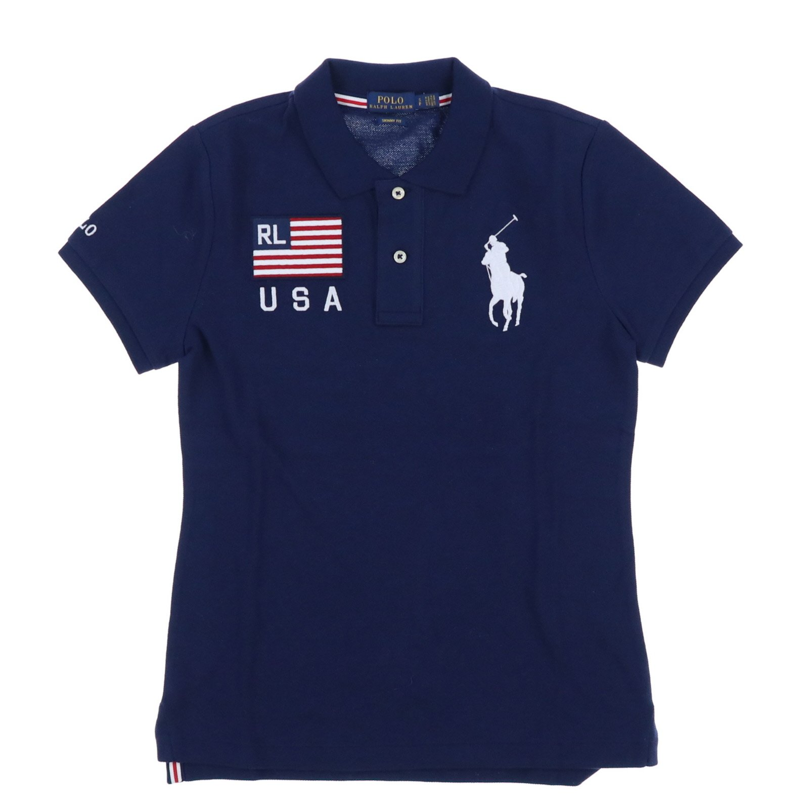 Polo Ralph Lauren Womens Skinny Fit Big Pony USA Polo Shirt (X-Small, Navy)