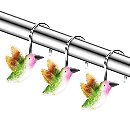 FITNATE Shower Curtain Hooks 12 PCS Anti Rust Decorative Hummingbird For
