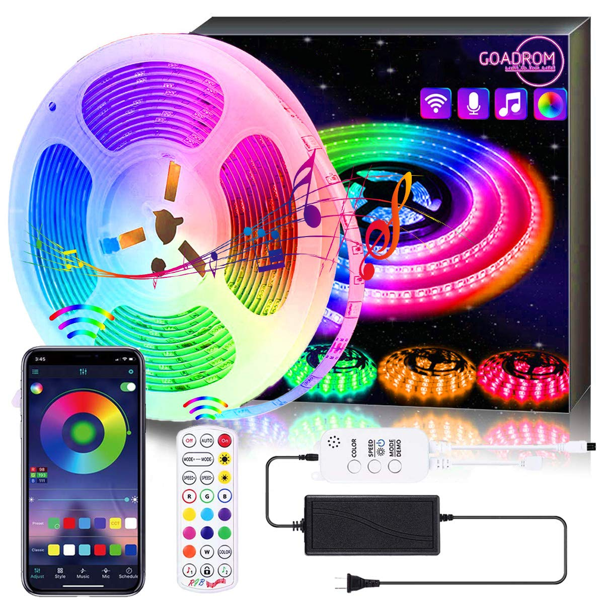 LED Strip Lights, GOADROM 16.4FT Tape Light 5050 RGB Light Strips Work with APP Non-Waterproof Music Sync Color Changing+Bluetooth Controller+24Key Remote Control Decoration for Home, Kitchen, Party