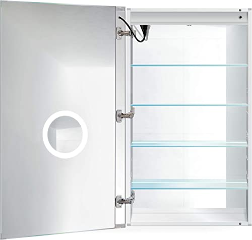 LED Medicine Cabinet 24 Inch X 42 Inch Recessed or Surface Mount Mirror Cabinet w Dimmer Defogger 3X Makeup Mirror Inside Outlet USB Left Hinge 42 Tall