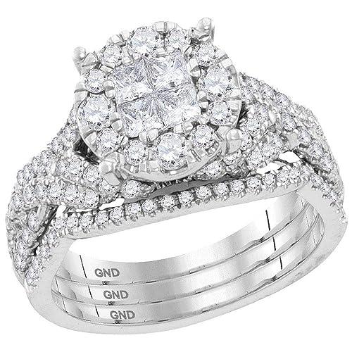 Diamond Cluster - Juego de 3 anillos de compromiso + anillo de ...