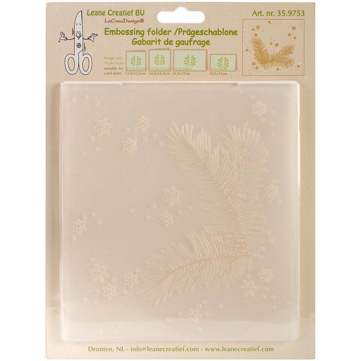 """Leane Creatief Embossing Folder 5.75""""X6.375""""-Christmas Branch Ecstasy Crafts LC359753"""