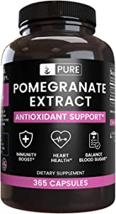 Natural Pomegranate Extract, 365 Capsules, 3 Month Supply, No Magnesium or Rice Filler, 40% Ellagic Acid, Antioxidant-Rich, Made in USA, Gluten-Free, Pure Pomegranate Extract with No Additives